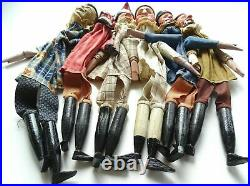 Ens 6 splendides marionnettes Victoriennes Punch/Guignol en bois sculptes