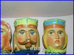 Ens de 5 anciennes marionnettes TETES/main/pied BOIS sculptes Punch & Judy