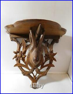 Étagère ancienne bois Sculpté Chamois Forêt Noire art populaire