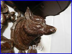 Étagère ancienne bois Sculpté Loup Forêt Noire art populaire