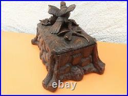 FORÊT NOIRE Superbe Grande Boîte à Bijoux, Grand Coffret Ancien en Bois Sculpté