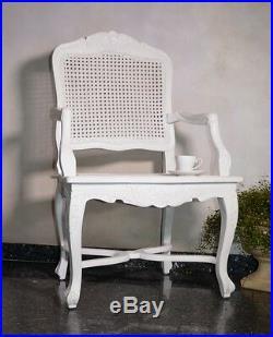 Fauteuil Siege Canne Blanc Vintage Ancien Shabby Bois Sculpte Style Design