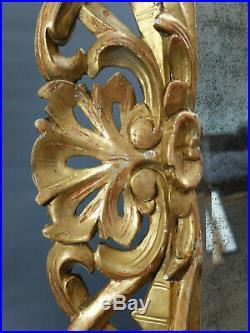 GLACE GRAND MIROIR ANCIEN XVIII XIX Italie Bois doré sculpté NO SHIPPING