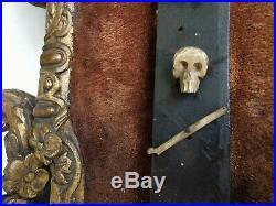 Grand CRUCIFIX XVIIIe 18e Stuc Dore Jesus Corne sculpte Ancien Chretien Art