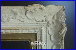 Grand Cadre Montparnasse tableau ancien Bois sculpté Fleur de lys Frame 12 fig