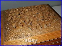 Grand Coffret Boite Ancienne En Bois De Rose Sculpte. Chine. Rosewood. (2)