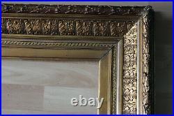 Grand cadre ancien 59cm x 51cm XIXème Bois Stuc sculpté et doré