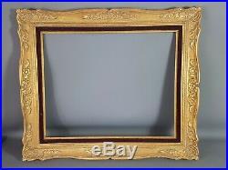 Grand cadre ancien Montparnasse bois sculpté doré, 64x55, feuillure 50x41 cm B7