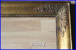 Grand cadre empire ancien 66cm x 54cm XIXème Bois Stuc sculpté et doré