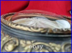 Grand cadre ovale avec verre bombé XIXeme Napoléon III noir et doré ancien