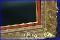 Grand cadre tableau ancien Montparnasse Fleur de lys Bois doré Cornice Frame 30P