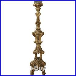 Grand candélabre ancien en bois sculpté doré à la feuille d'or Sec XVII