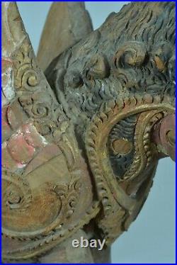 Grand parement ancien Singha Lion Temple Bouddhiste Bali Bois sculpté 19ème DECO