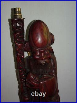 Grande lampe ancienne en bois sculpté. Shou lao. Chine, vers 1940-1950. Statuette