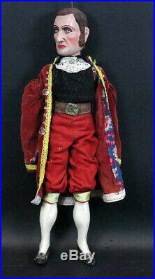 Grande marionnette ancienne bois sculptee /articulee PERSONNAGE MASCULIN 69cm
