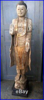 Grande statue en bois sculpté Déesse Thailande Chine Zen ht 1m70 ancienne