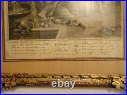 Gravure ancienne. Vertumne et Pomone. Cadre en bois sculpté et doré. XVIII°