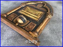 ICÔNE Ancienne La SAINTE CENE BOIS Sculpté Peinture ART Religieux Bysantin 33 Cm