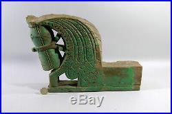 INDE! ANCIENNE PIECE DE BOIS SCULPTE et PEINT, tête de cheval