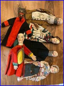 Important Lot de Marionnettes en bois sculpté du 19 -ème Siècle & Jouet Ancien