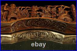 Impressionnant miroir ancien, art populaire Alsacien bois sculpté / Alsatique