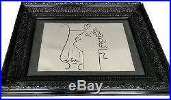 Jean Cocteau Plaque En Aluminium Cadre Ancien En Bois Sculpté Noir Peint Vitre
