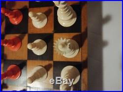 Jeu d'échecs en os sculpté ancien coffret bois antique chess game wood bone