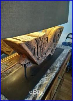 Lampe élément bois sculpté architecture ancien xviii xvii haute époque ancienne