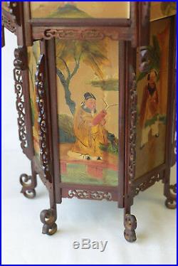 Lanterne ancienne Hexagonale Extrème Orient en bois sculpté fin XIX début XX