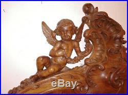 Lit ancien noyer sculpté Ange + coquille début 1900 très bon état propre H 162cm