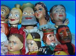Lot 19 marionnettes anciennes en bois sculpte Guignol/Punch PRIX REDUIT