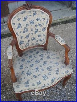 Lot 2 anciens fauteuil bergère années 1950 bois sculpté old armchair