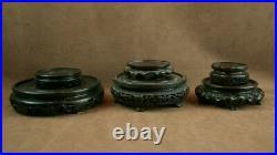 Lot De 6 Socles Anciens En Bois Sculptés Pour Vase Chinois Chine