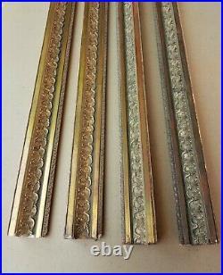 Lot de 4 anciennes baguettes dorées à la feuille de style Empire