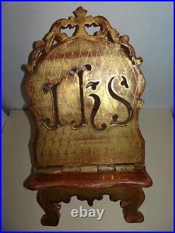 Lutrin ancien en bois sculpté et doré. XIX°. Livre, bibliothèque, bible