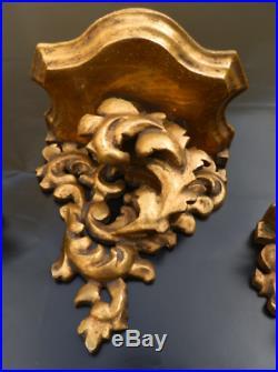 MAGNIFIQUE lot 3 anciennes étagères consoles murales bois sculpté doré rocaille