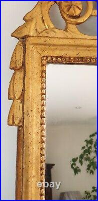 MIROIR/GLACE ANCIENNE DEpoque Louis XVI, fin XVIII SIÈCLE En Bois Sculpté Doré