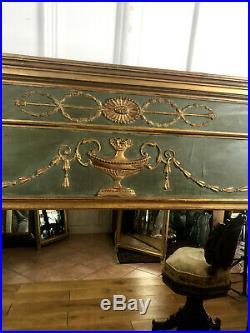 MIROIR /GLACE /TRUMEAU ANCIEN 19em EN BOIS SCULPTÉ ET PATINÉ DE STYLE LOUIS XVI