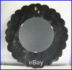 MIROIR MURAL ancien, CADRE SCULPTE MAIN, bois léger, DORURE, diamètre total 38cm