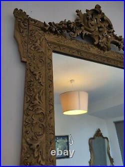 Magnifique MIROIR ANCIEN sculpté en bois et stuc doré Glace au mercure