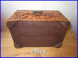 Magnifique ancien coffret en bois sculpté Indochine Chine Japon boîte asiatique