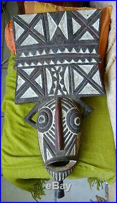 Masque cultuelle ancien bois sculpté afrique dogon mossi mali cote d'ivoire