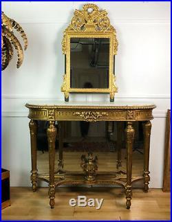 Miroir Ancien À Fronton En Bois Sculpté Et Doré De Style Empire 98 CM De Haut