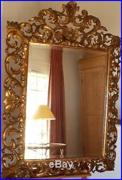 Miroir Ancien. Bois Sculpté Doré. Glace Bisouté. Italie, Epoque XVIIIème Siècle