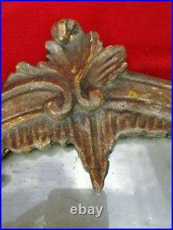 Miroir Ancien au Mercure XVIIIe Cadre Bois Sculpté, H. 41cm