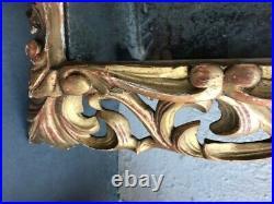 Miroir Ancien au Mercure en Bois Sculpté Doré à l or fin du XVIII eme Italien