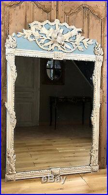 Miroir / Glace Ancienne En Bois Sculpté À Décor De Colombes Couleur Gustavien