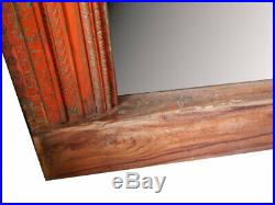 Miroir Orange Massif Bois Teck Sculpte Ancien Cadre Porte Indienne 112x16x218cm