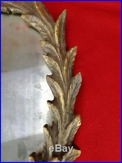 Miroir au mercure XVIIe cadre bois sculpté Louis XIV ancien 41cm