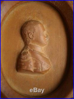 NAPOLEON Ier JOSEPHINE PORTRAIT PROFIL MEDAILLON BOIS SCULPTE DECO EMPIRE ANCIEN